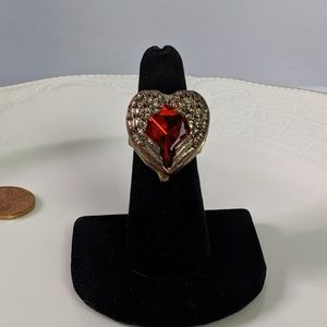 🌜3 for $25🌛Angel Wings Red Stone Gold Tone Ring